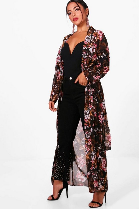 Petite Alicia Dark Floral Chiffon Belted Duster