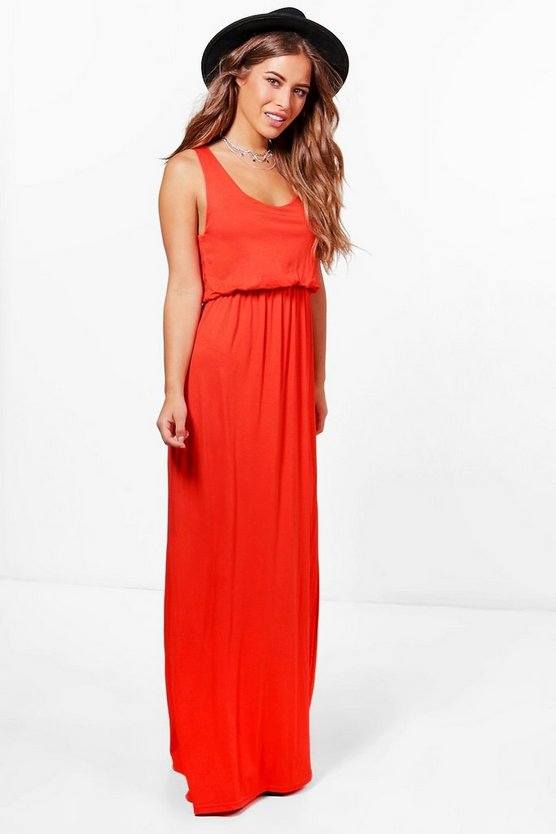 Petite Bagged Over Racer Back Maxi Dress