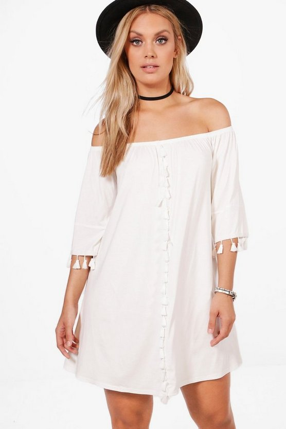 Plus Faith Tassel Trim Off The Shoulder Swing Dress
