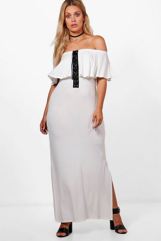Plus Carla Off The Shoulder Lace Frill Maxi Dress