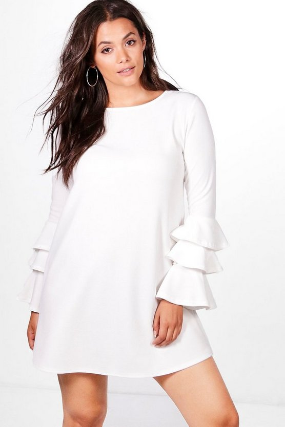 Plus Frill Sleeve Shift Dress