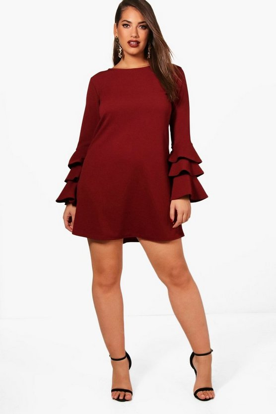 Plus Bianca Frill Sleeve Shift Dress