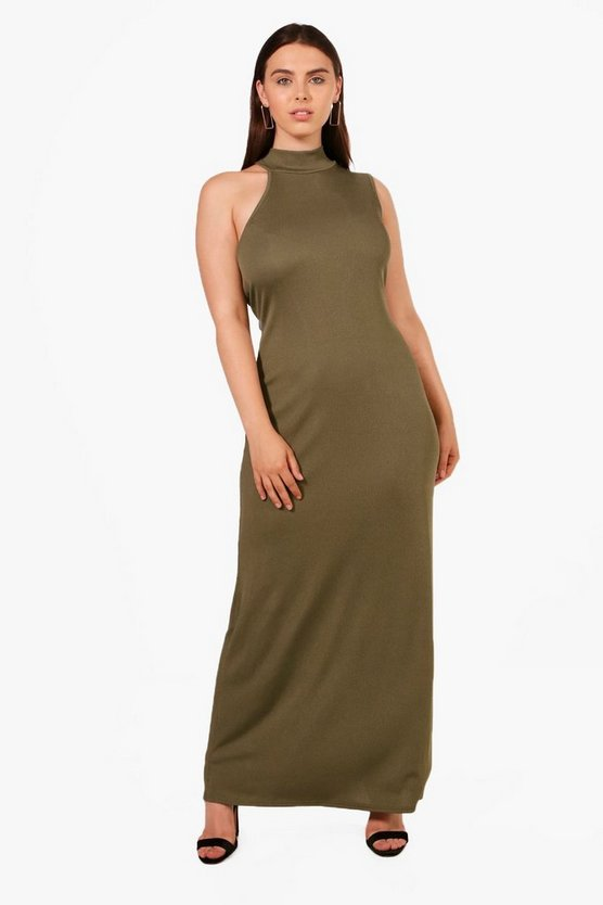 Plus Lydia High Neck Scoop Sleeve Maxi Dress