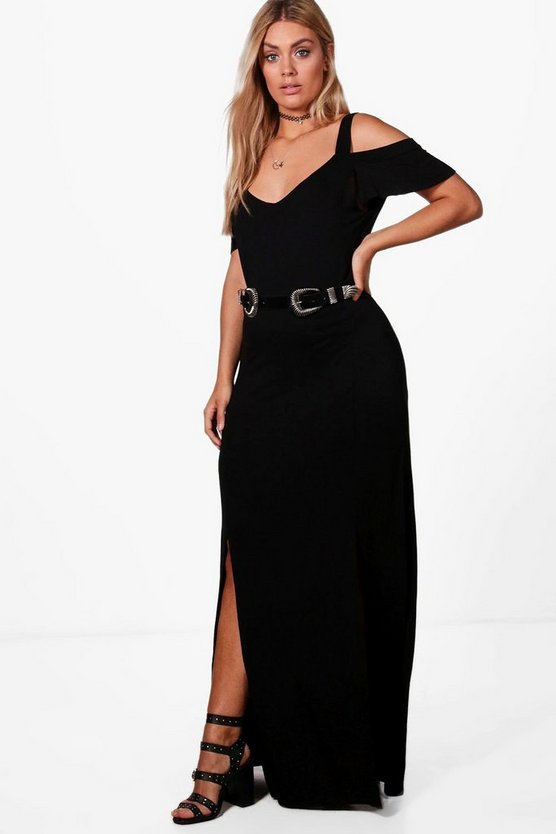 Plus Kady Open Shoulder Split Front Maxi Dress