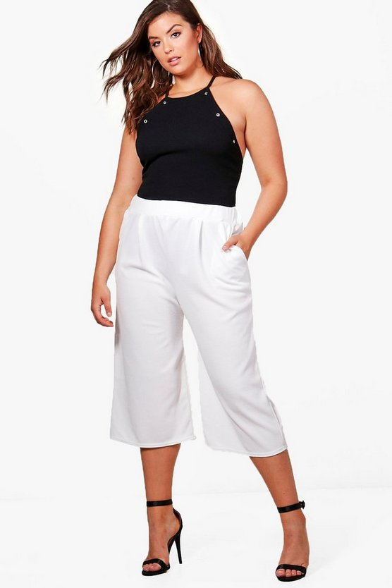 plus holly pantalon jupe-culotte jambes larges