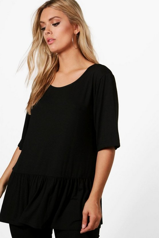 Plus Chrissie Lace Up Ruffle Hem Tee