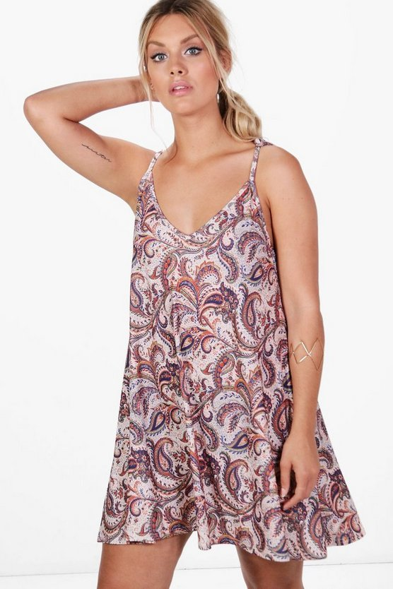 Plus Emma Paisley Strappy Swing Dress