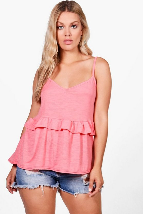 Plus Jane Strappy Ruffle Cami Top