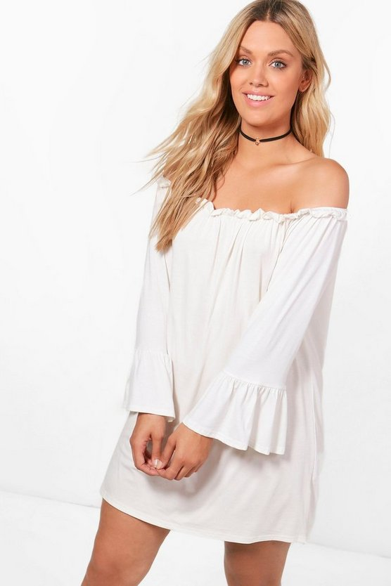 Plus Liz Ruffle Flared Sleeve Off The Shoulder Dress
