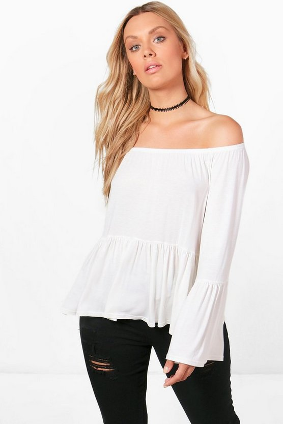 Plus Ella Flare Sleeve Ruffle Hem Top