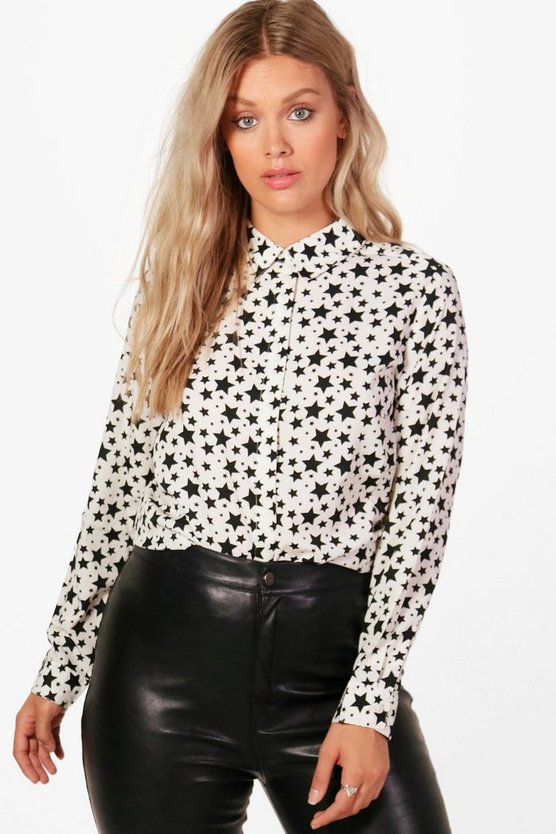 Plus Jayne Star Print Woven Shirt