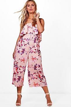 Plus Ciara Bandeau-Jumpsuit mit Volant und Hosenrock - Boohoo.com