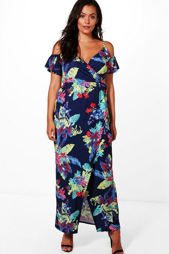 Plus Lydia Open Shoulder Floral Maxi Dress
