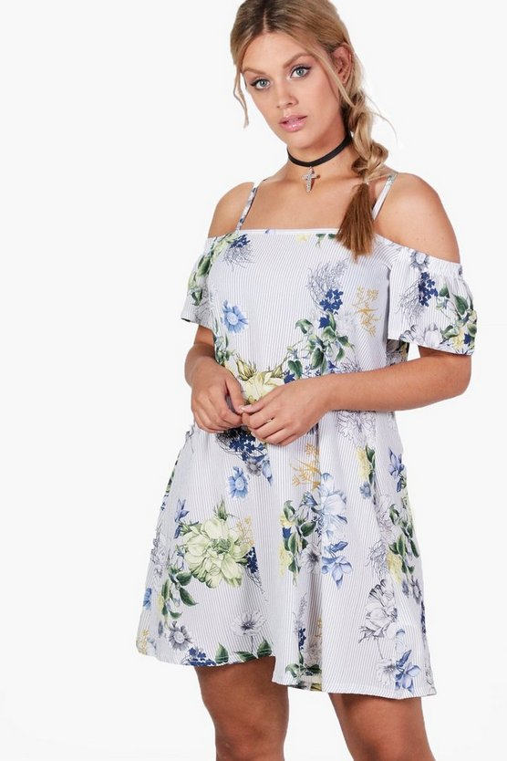 Plus Poppy Cold Shoulder Floral Dress