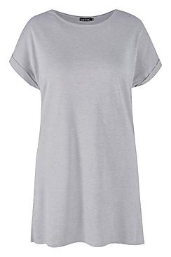 Plus Oversized Roll Up T-Shirt Dress