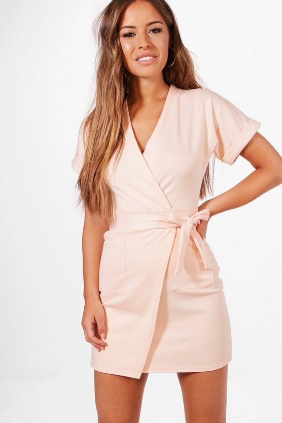 Petite Laura Obie Tie Wrap Dress