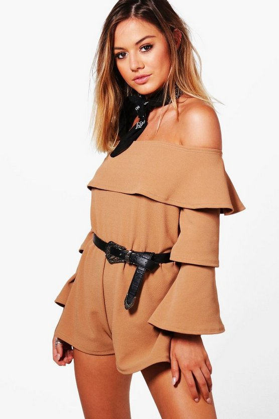 Petite Aimee Double Layer Ruffle Sleeve Playsuit