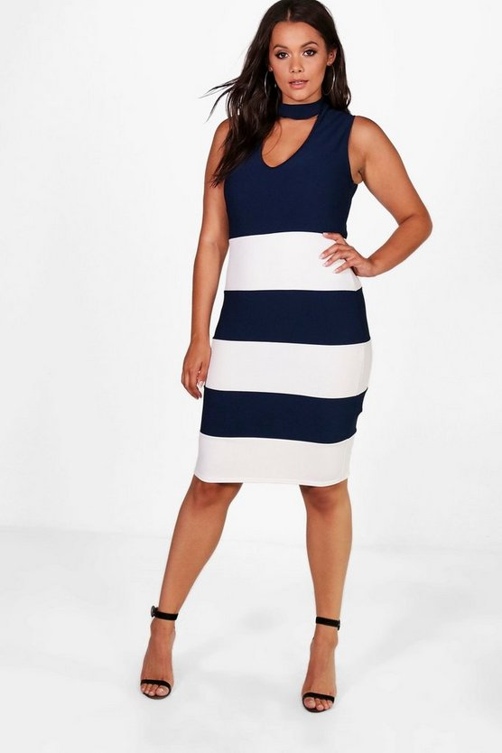 Plus Katie Striped Choker Ribbed Midi Dress