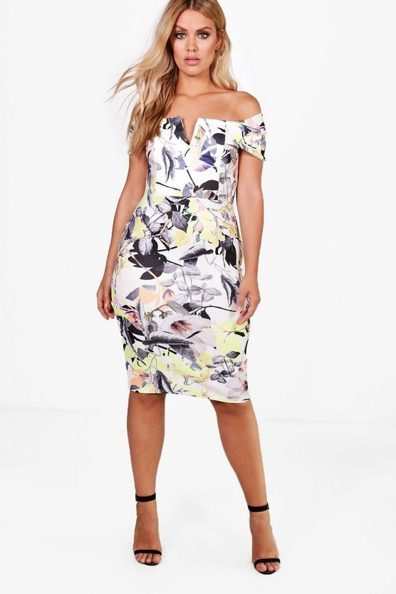 Plus Jenna Off The Shoulder Scuba Floral Midi Dress