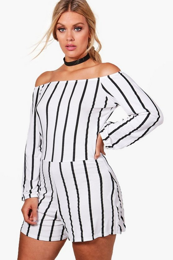 Plus Louise Striped Bandeau Playsuit