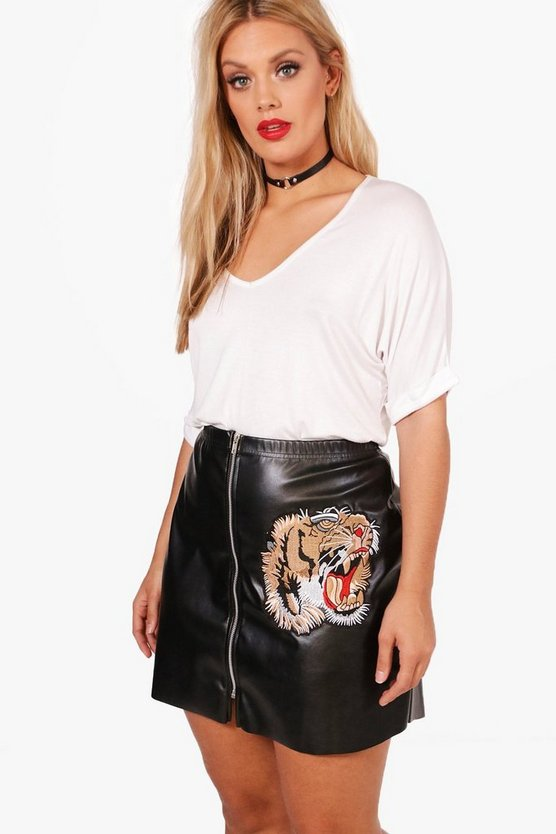 Plus Casey Tiger Embroidery PU Mini Skirt