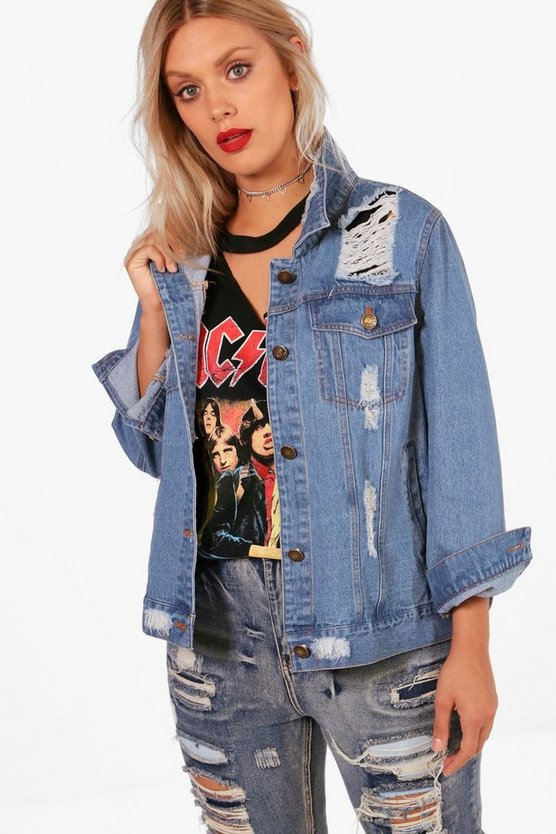 Plus Lara Heavy Fray Detail Denim Jacket