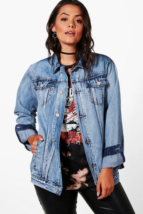 Plus Maya Acid Wash Denim Jacket