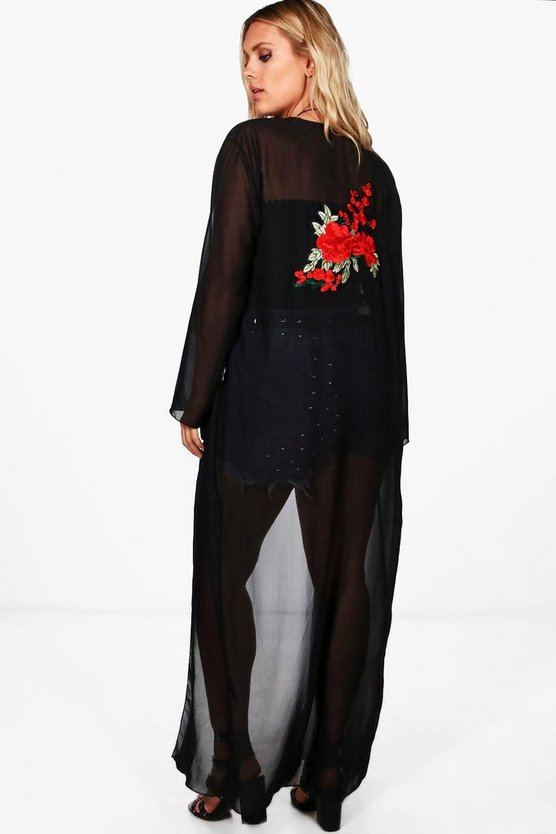 Plus Annie Embroidery Detail Maxi Chiffon Duster