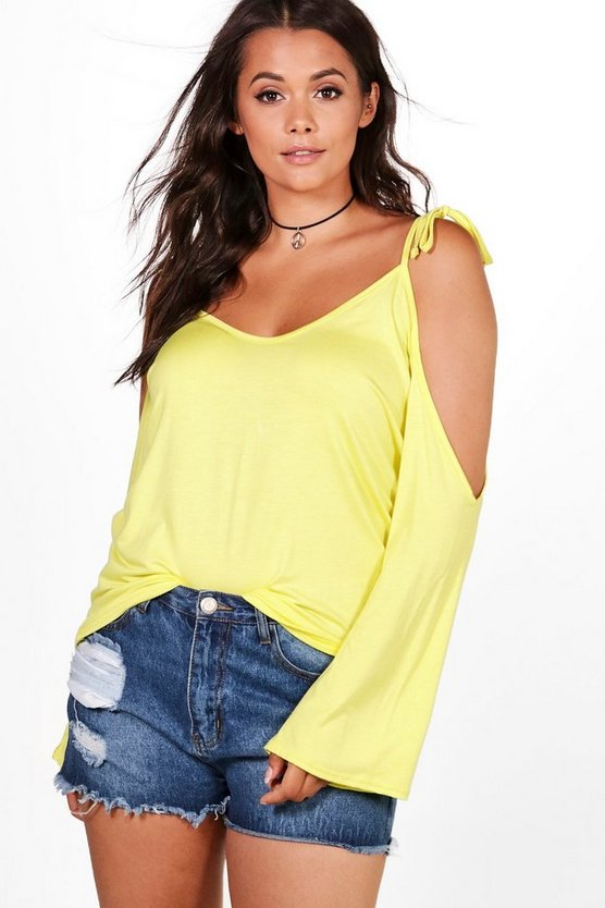 Plus Kerry Cold Shoulder Tie Top