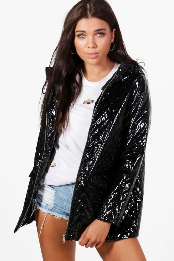 Petite Hayley Metallic Quilted Rain Coat