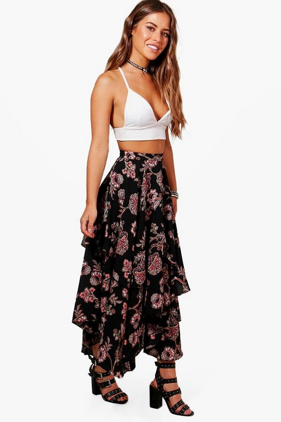 Petite Lola Floral Print High Low Hem Maxi Skirt