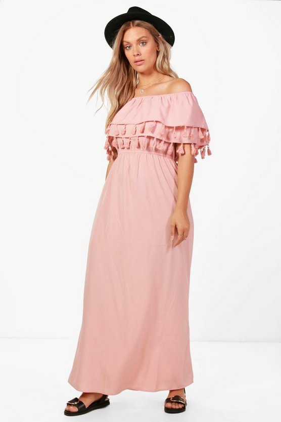 Plus Macie Double Layer Tassel Trim Maxi Dress