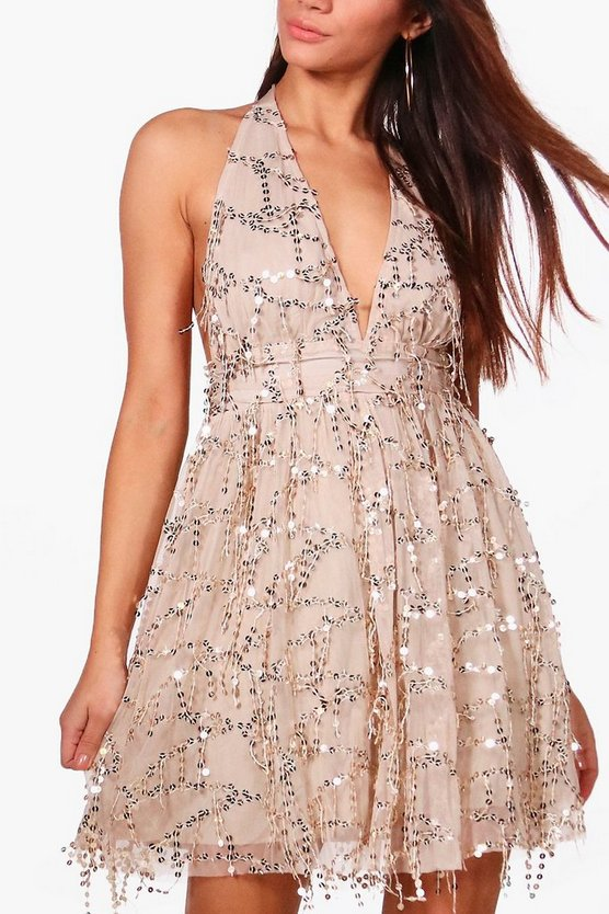 Petite Nicola Sequin Halterneck Skater Dress