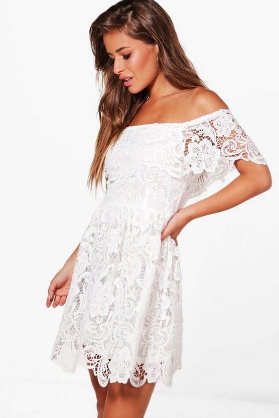Petite Lace Off The Shoulder Skater Dress
