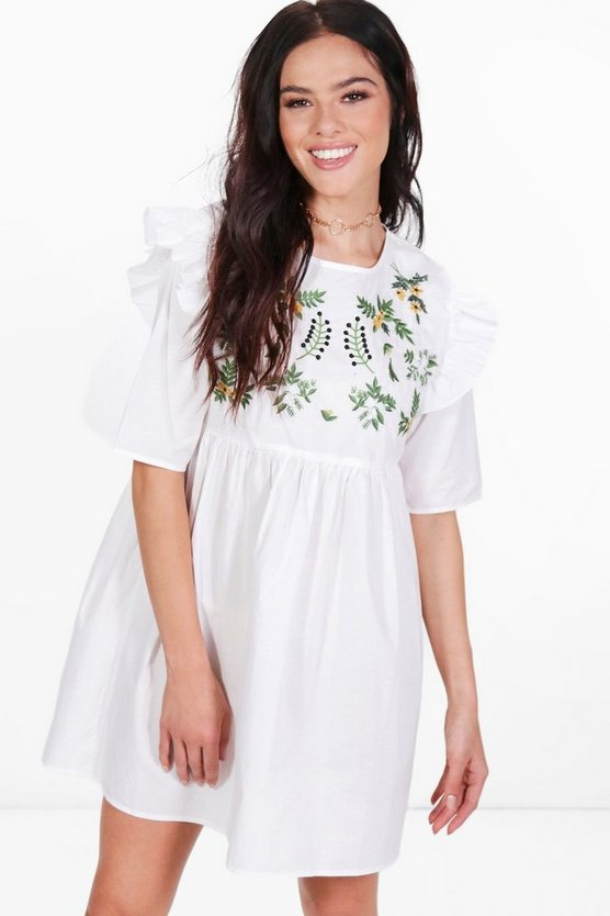 Petite Rosie Embroidered Smock Ruffle Dress