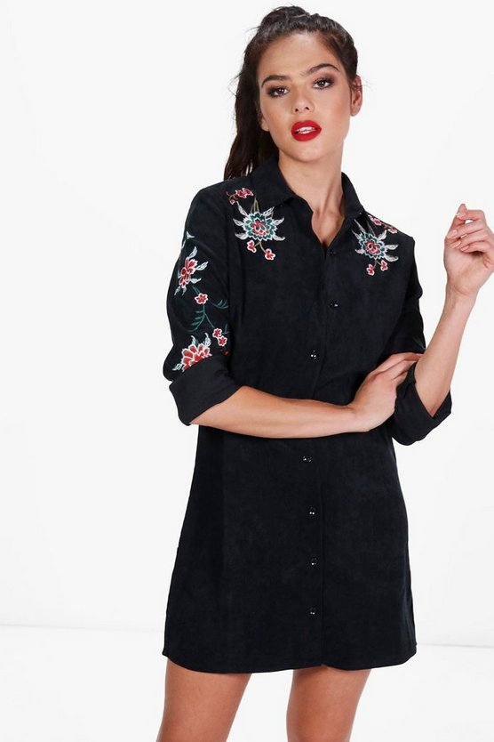 Petite Kelly Cord Embroidered Shirt Dress