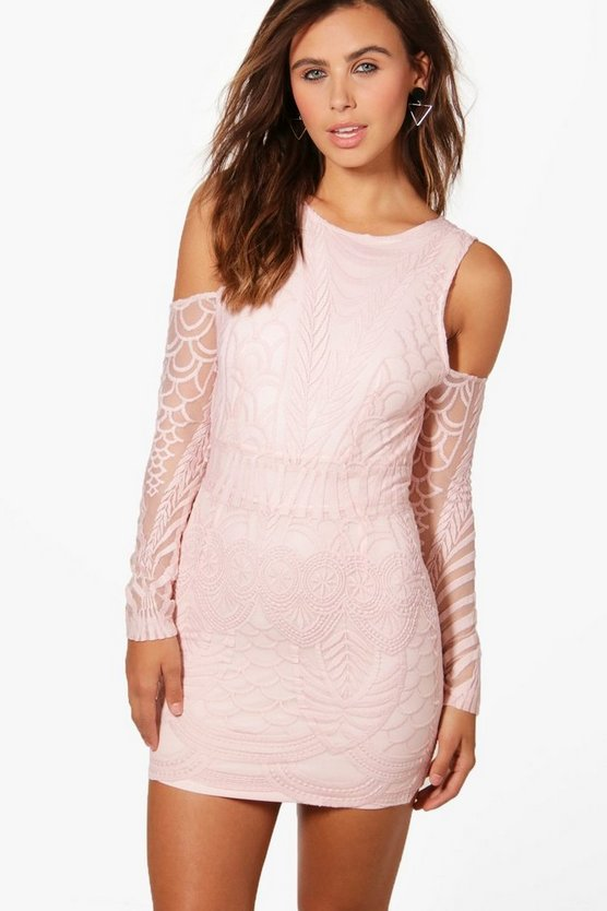 Petite Ivy Lace Fringe Cold Shoulder Bodycon Dress