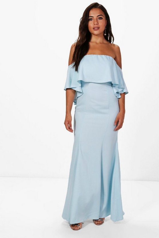 Petite Ellie Off The Shoulder Fishtail Maxi Dress