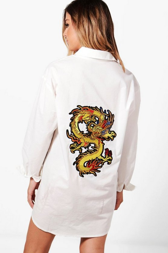 Petite Ebony Oversized Dragon Embroidered Dress