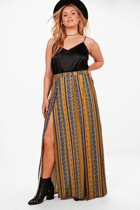 Plus Elise Printed Split Maxi Skirt
