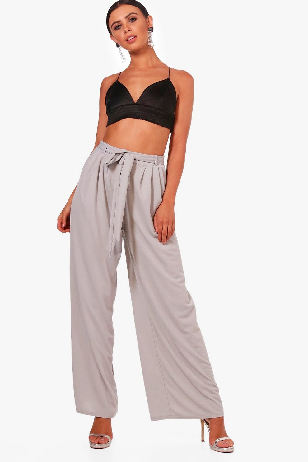 Outlet Cheapest Price Boohoo Petite Tie Waist Wide Leg Trouser Amazing Price Online Buy Cheap For Cheap Online Sale Online 2RieZG