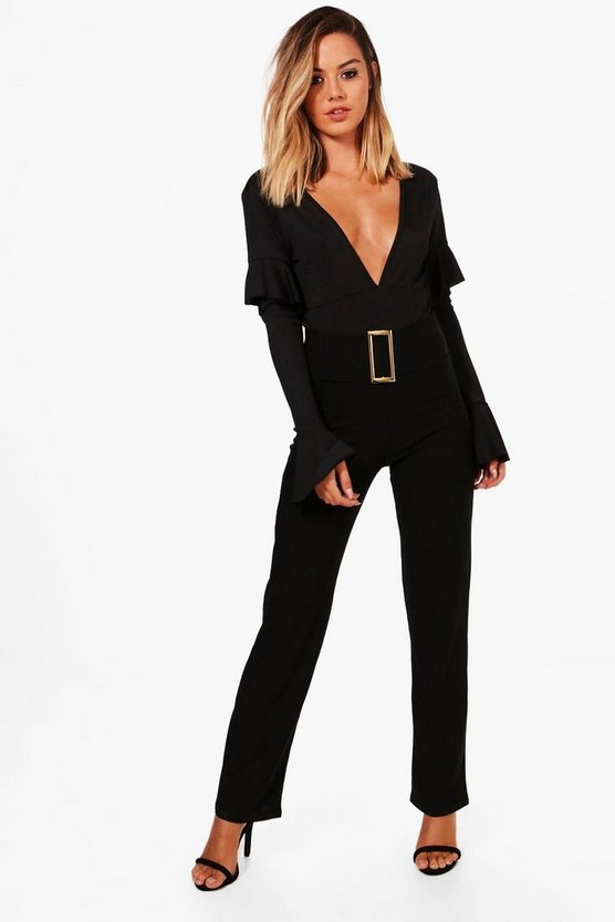 Petite Keira Buckle Detail High Waist Crepe Trouser