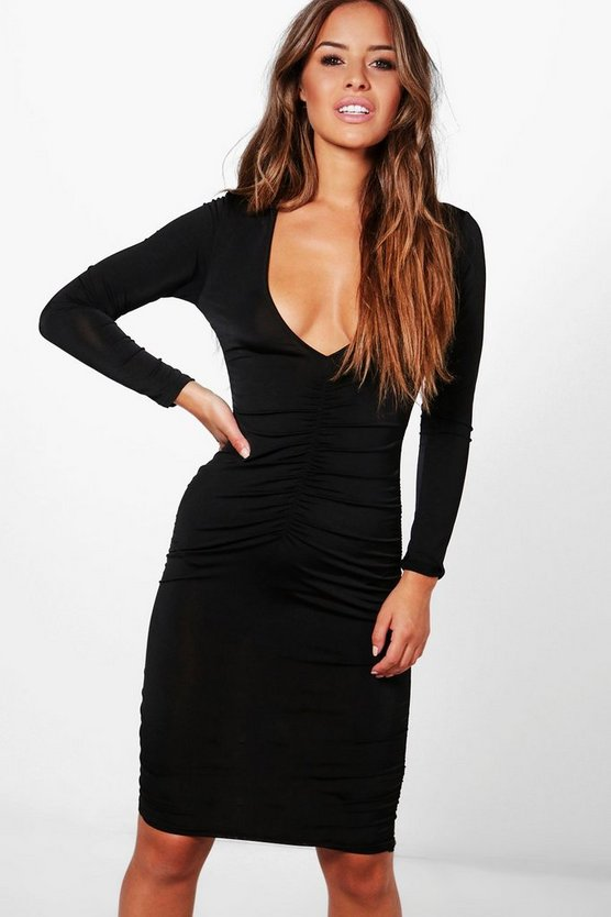 Petite Martha Ruched Plunge Bodycon Dress
