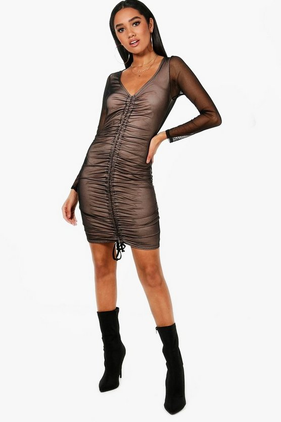 Petite Hollie Drawstring Mesh Bodycon Dress
