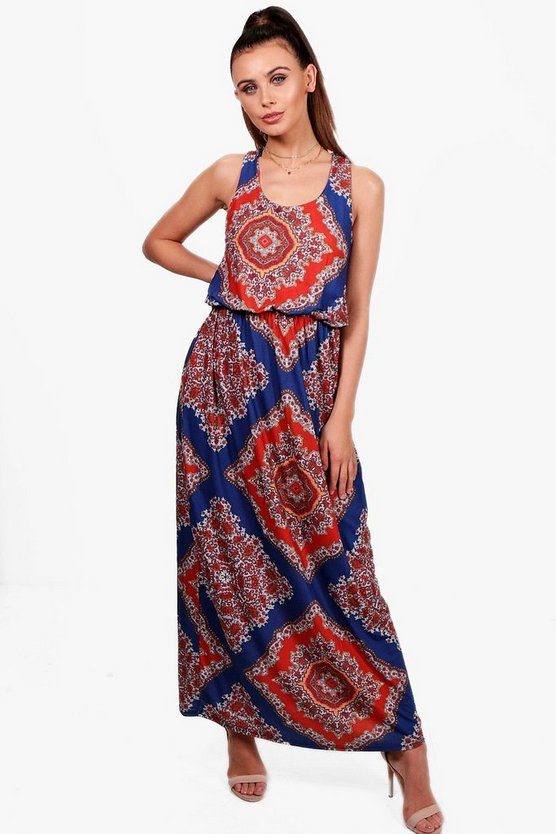 Petite Lottie Paisley Print Twist Back Maxi Dress
