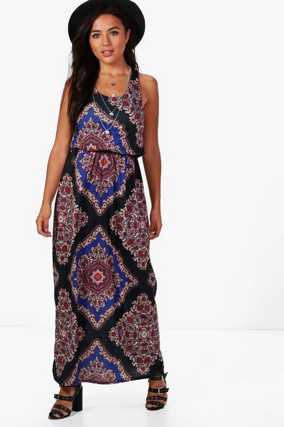 Petite Melissa Paisley Print Twist Back Maxi Dress