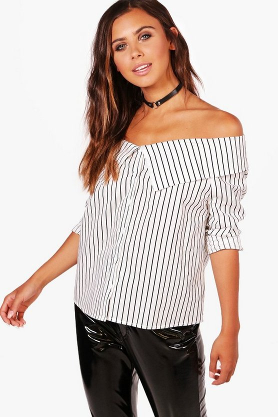 Petite Hally Striped Bardot Shirt