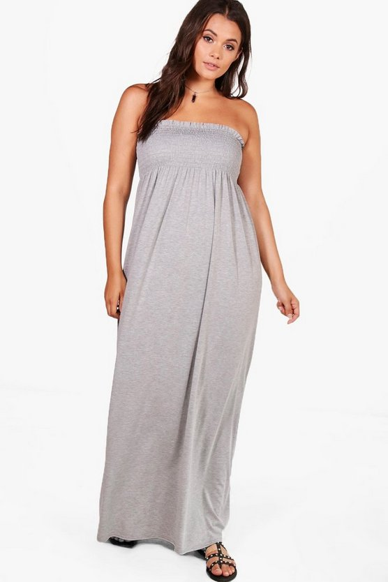 Plus Sadie Shirred Maxi Dress