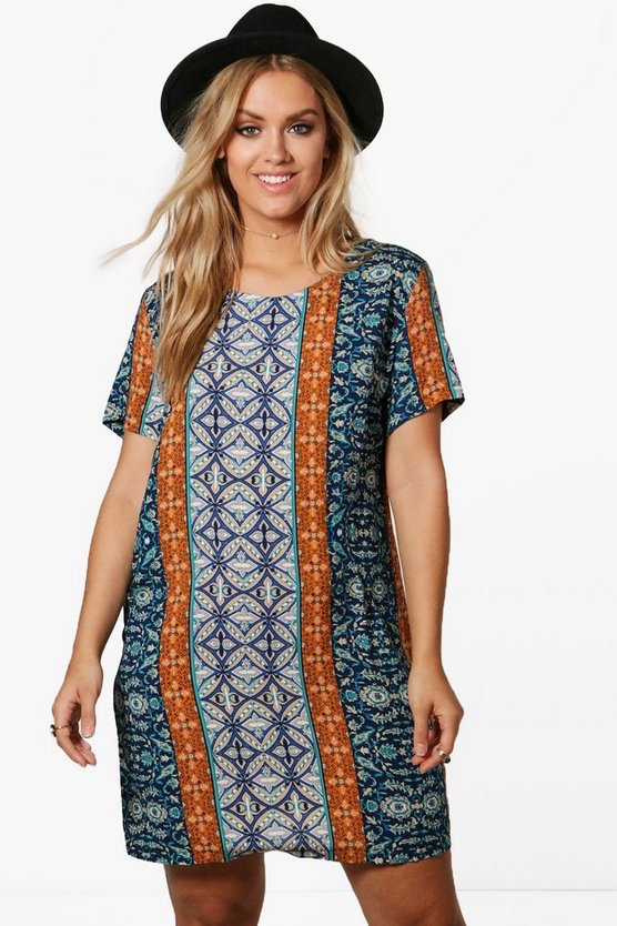Plus Imogen Paisley Woven Shift Dress