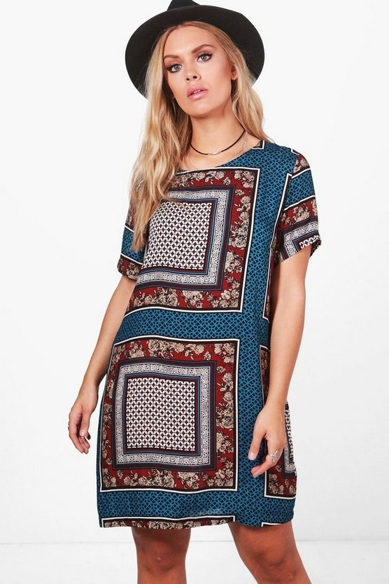 Plus Kara Paisley Woven Shift Dress